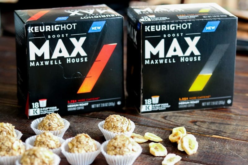 Two Maxwell House Max packages with banana oatmeal energy bites in front on wood table.