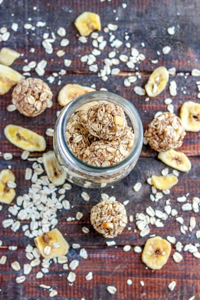 Pair your coffee with a healthy snack, like these Banana Oatmeal Energy Bites and get through your day!