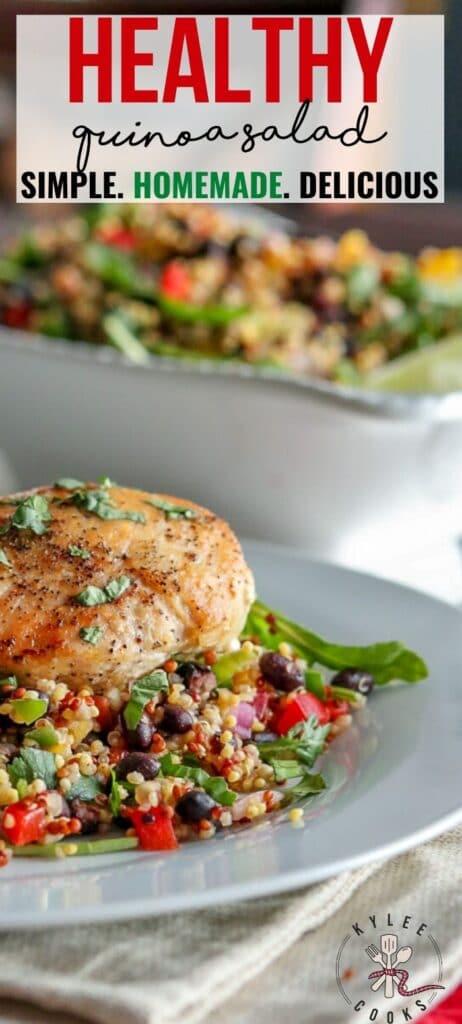 quinoa salad pin with text overlay