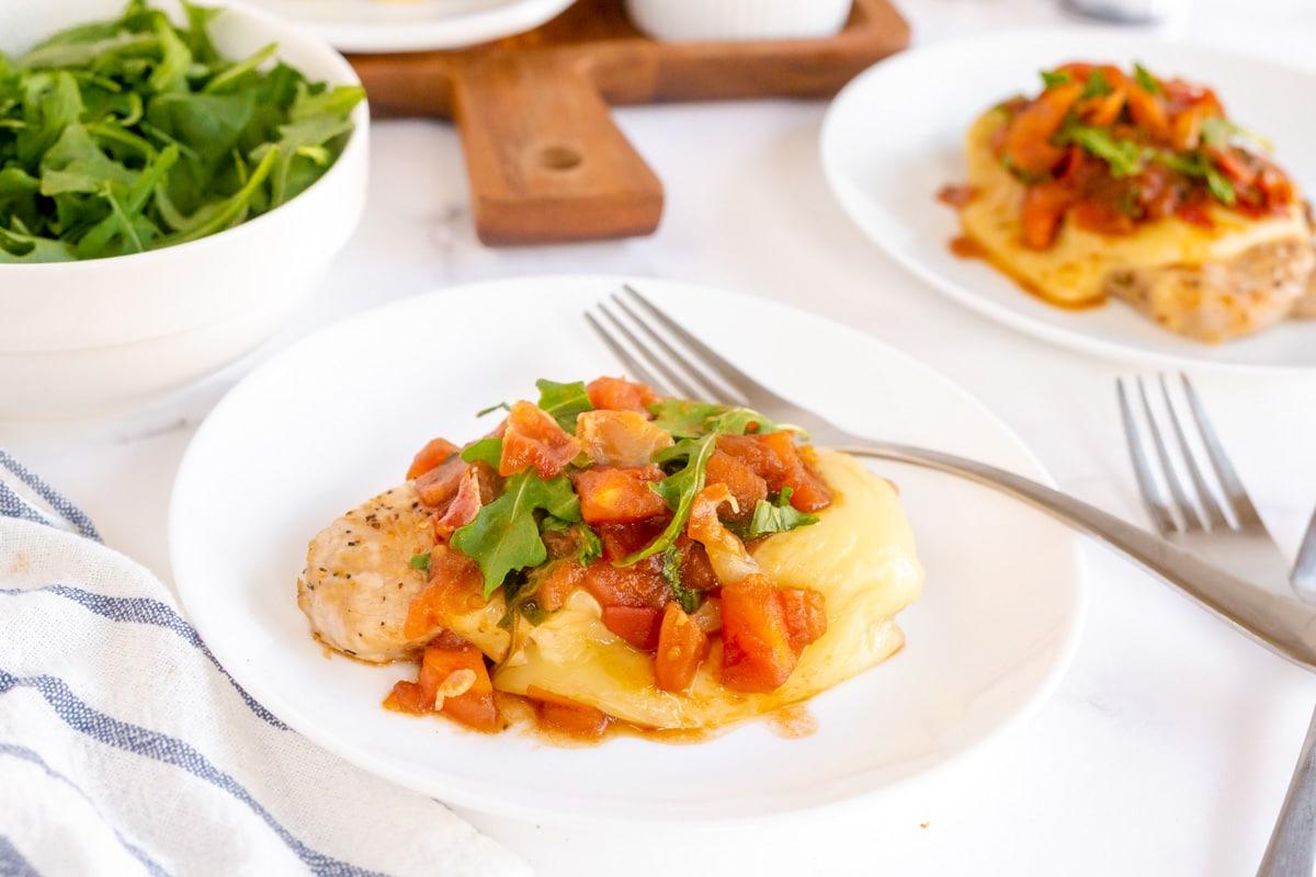 plated pork chops