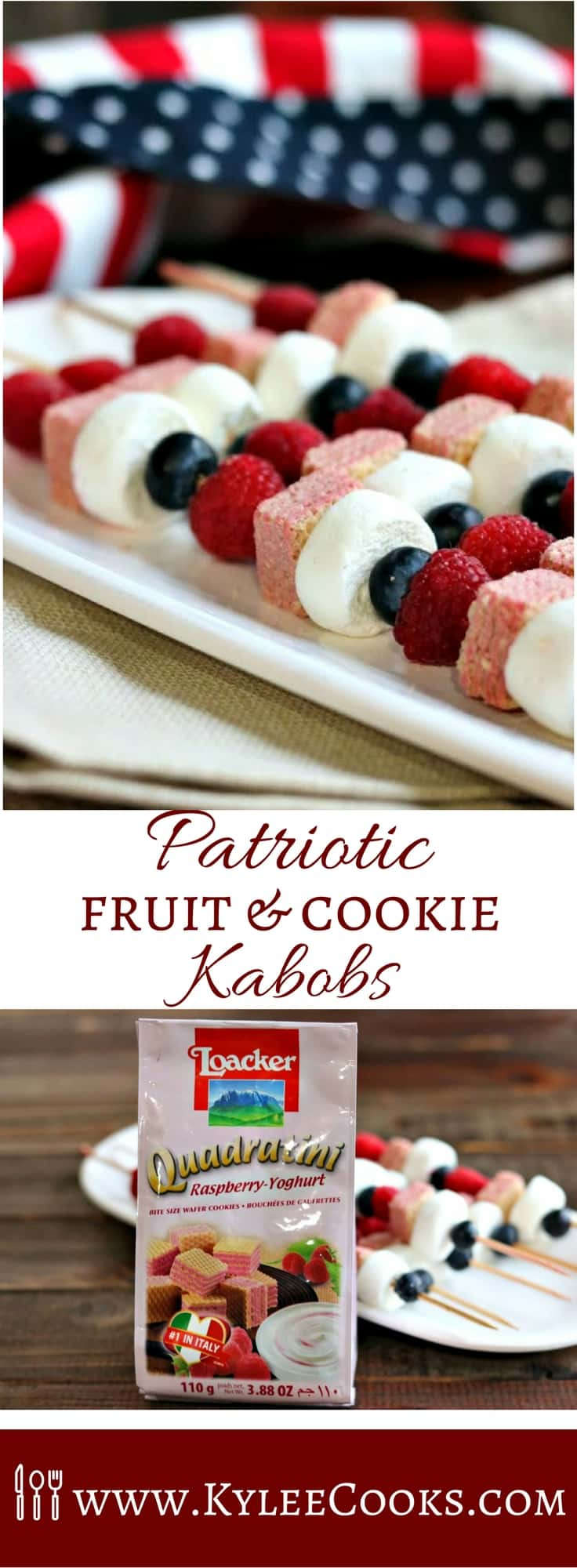 Make these super cute fruit & cookie kabobs for #4thJuly celebrations! #redwhiteblue