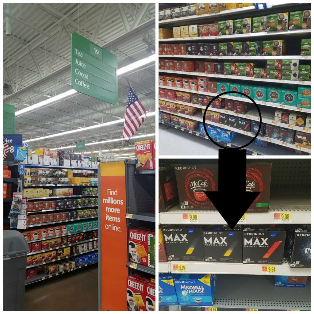 Collage with grocery aisle on right, shot of Maxwell House Max packages on shelf in upper right, and closeup shot of packages on shelf in lower right.