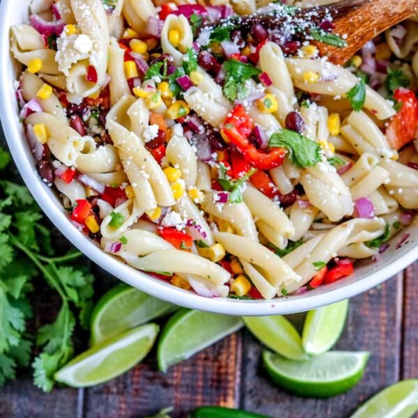 a bowl of southwestern pasta salad
