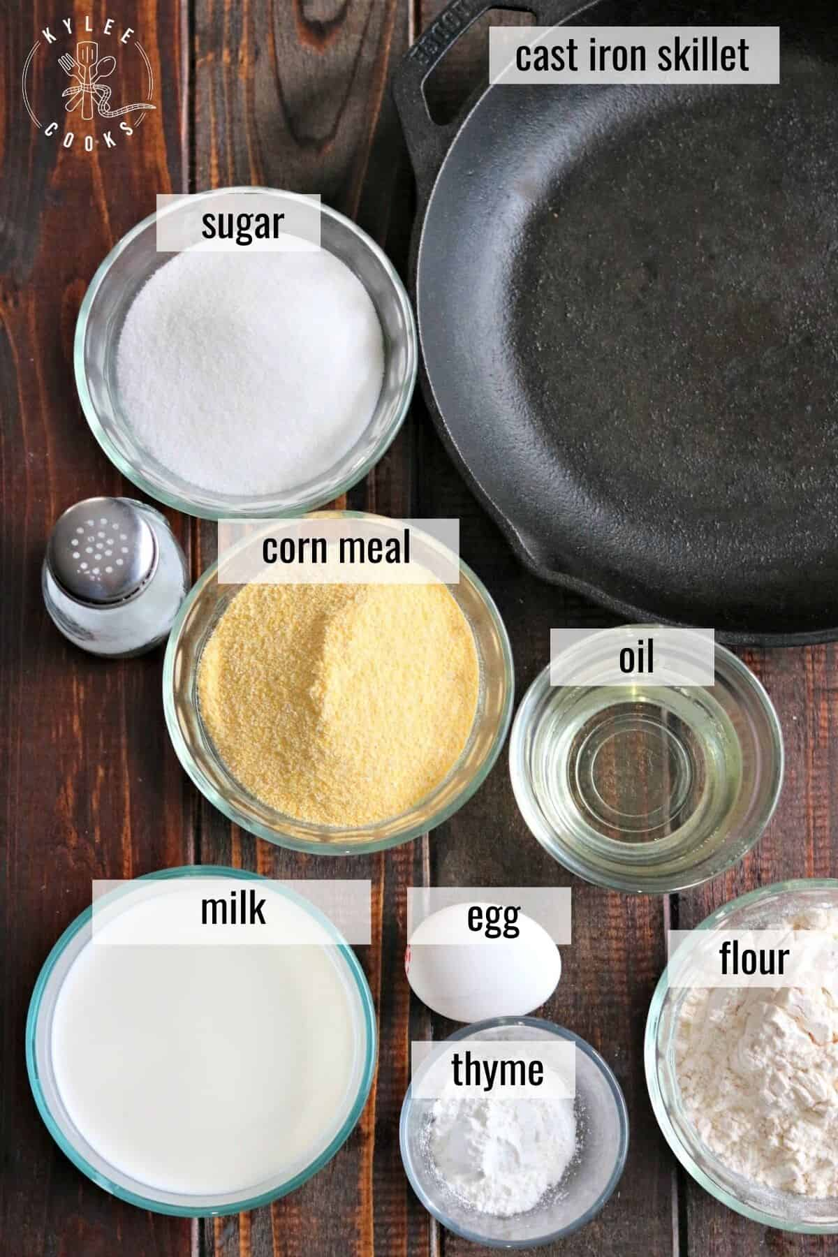 cornbread ingredients laid out