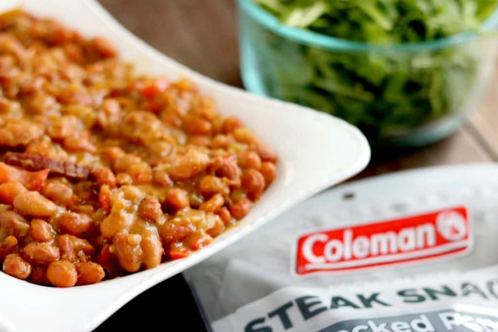 Coleman Steak Snacks feature in this homemade cracked pepper steak baked beans recipe, perfect as a side while grilling out, or as a main dish!