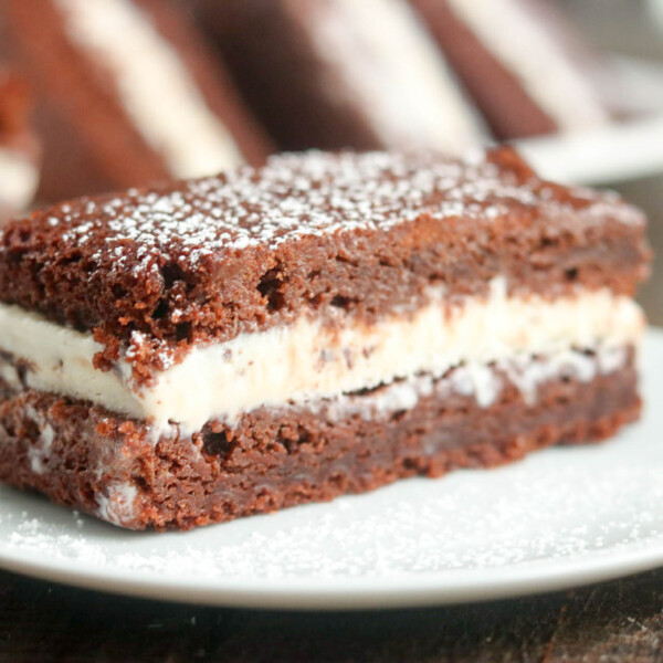 brownie icecream sandwich on a plate