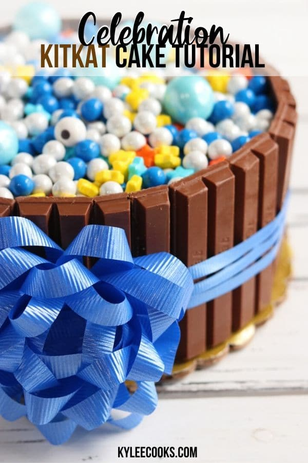 KitKat Cake Tutorial Pin with text overlay