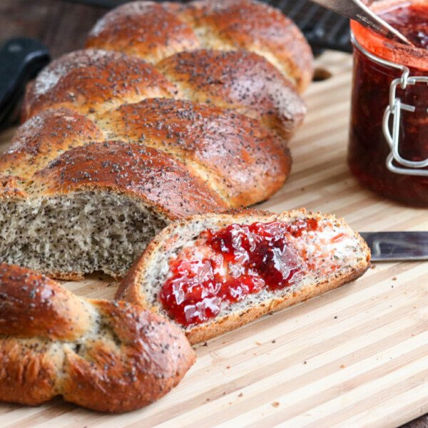 A beautiful looking AND tasting bread, this easy Crusty Braided Poppy Seed Loaf will be one you make again and again!