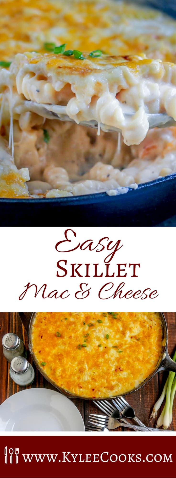 Comfort food at its finest, this skillet mac & cheese is so easy! Just the skillet and a pasta pot, the and a quick broil, and this is ready FAST!