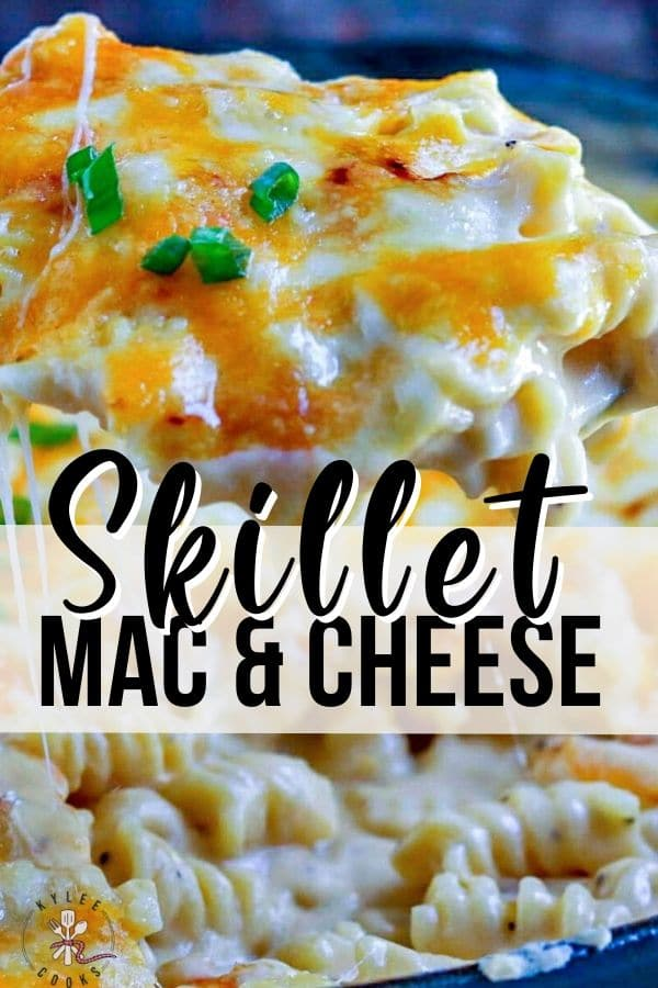 Skillet Mac & Cheese pin with text overlay