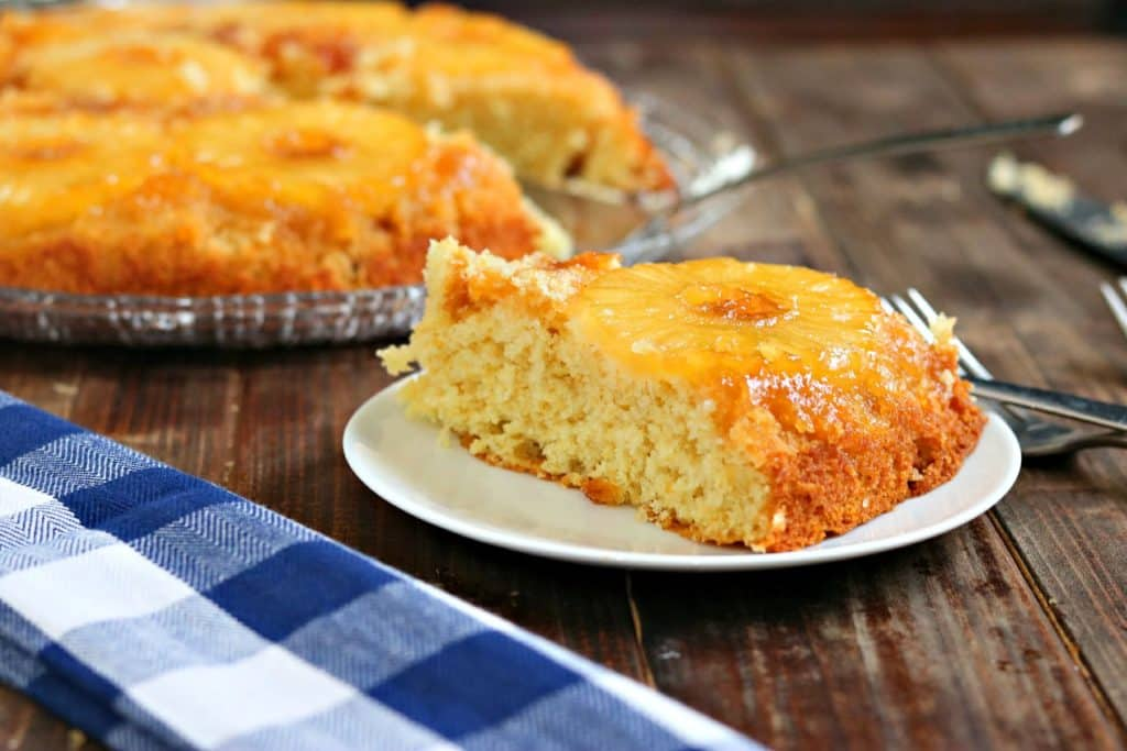 """How about this """"Blast from the Past""""? A delicious and moist Honey Pineapple Upside Down Cake with a twist using honey and caramelizing in a skillet. Perfect, and easy!"""