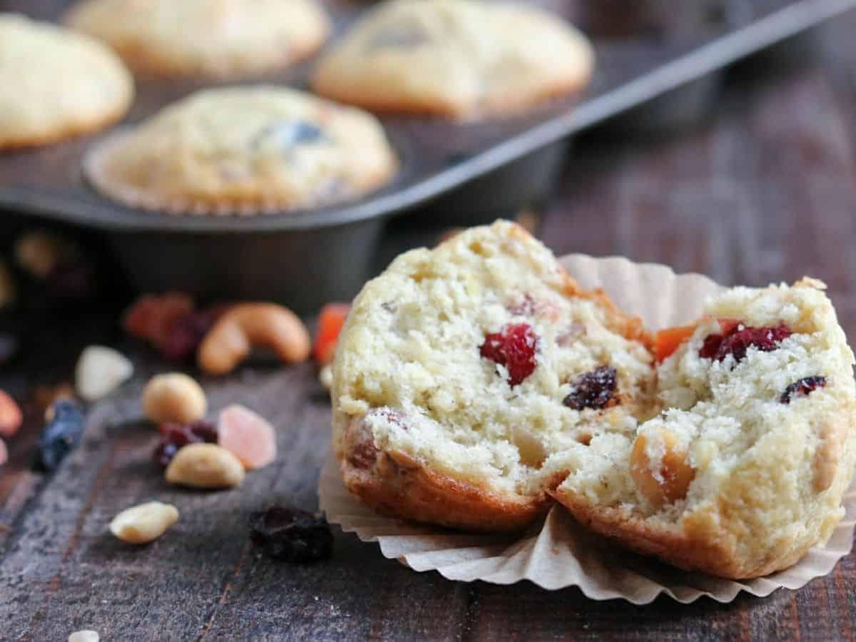 a cut open muffin