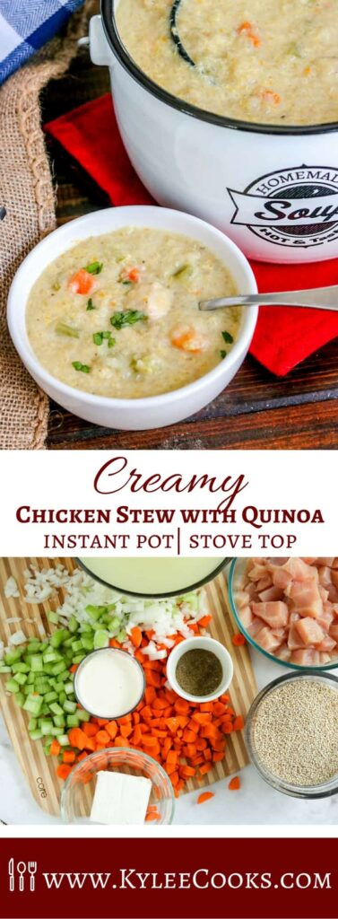 Collage of white bowl and white pot filled with creamy chicken stew with quinoa at top and overhead shot of individual stew ingredients in bowls at bottom.