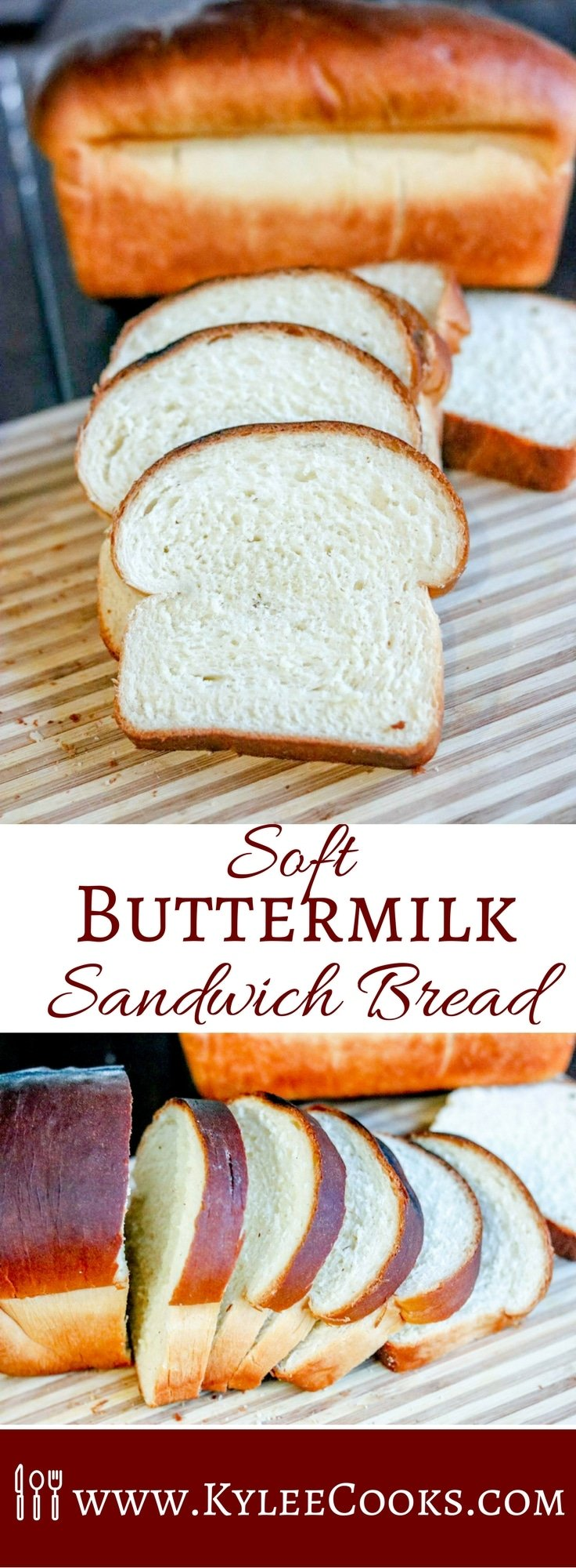 A beautifully soft homemade white sandwich bread, with a touch of extra flavor from buttermilk. This bread is fantastic for sandwiches, toasting, or right out of the oven.