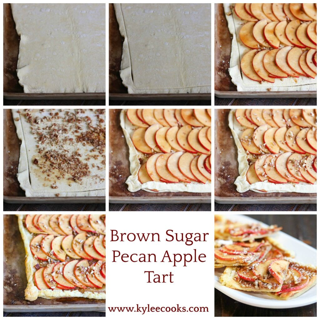 Collage of making pecan apple tart. Rolled dough, cut dough, and spiced apples on dough at top. Crushed pecans on dough. apples on dough, and crushed pecans over apples at middle. Rolling dough over edge and finished tarts at bottom.