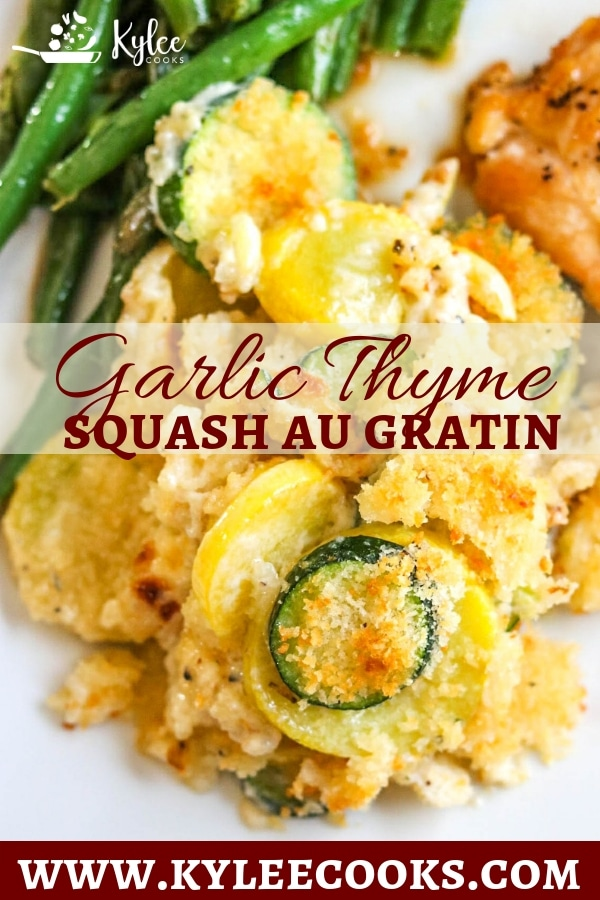Overhead shot of squash au gratin with green beans and chicken breast on white plate.