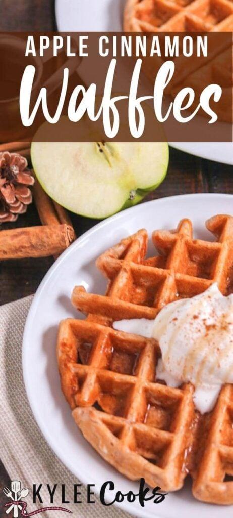 apple cinnamon waffles pin with text overlay