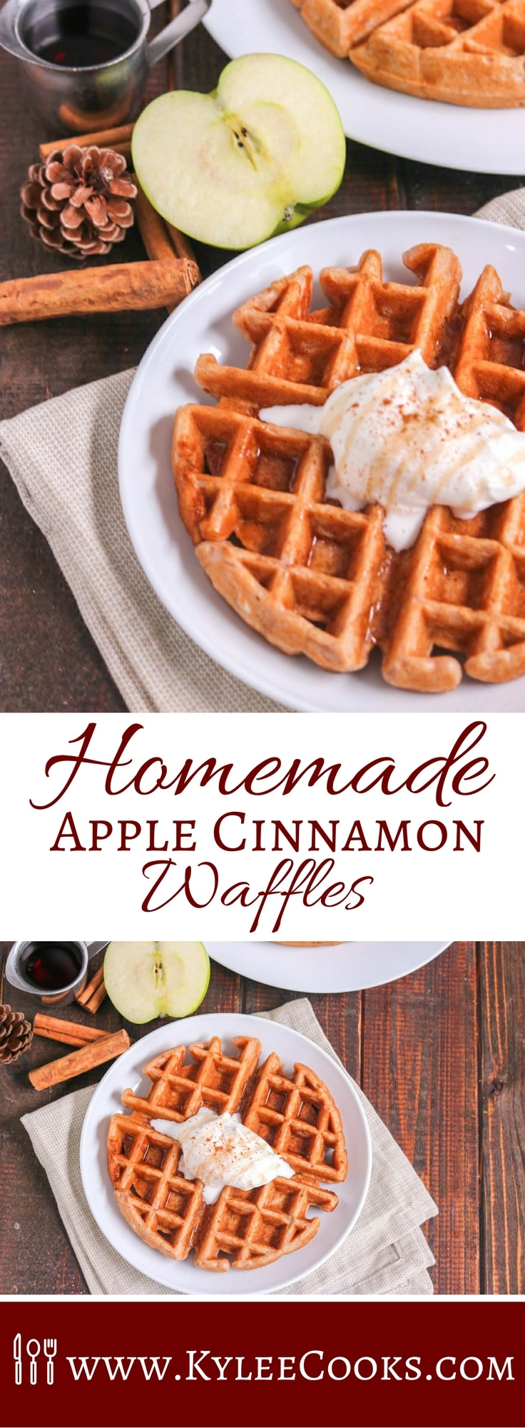 Apples and Cinnamon are the perfect flavorings for these Homemade Apple Cinnamon Waffles from scratch. Warmth, comfort and so much yum! The whole family will enjoy these! #recipe #waffles #yum #breakfast