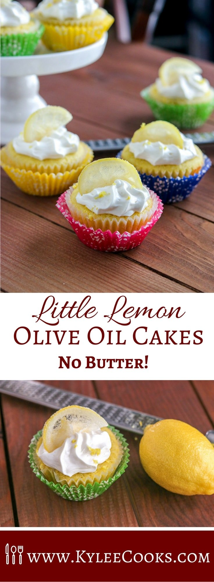 Delightfully lemon-y and not super sweet, these Little Lemon Olive Oil Cakes have no butter! A good quality olive oil is used instead - for delicious, tender, fully flavored results!