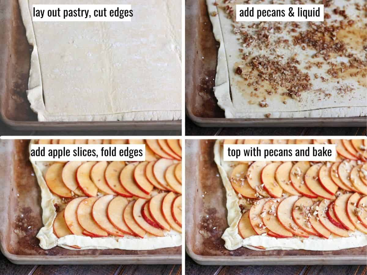 collage showing step by step how to make an apple tart
