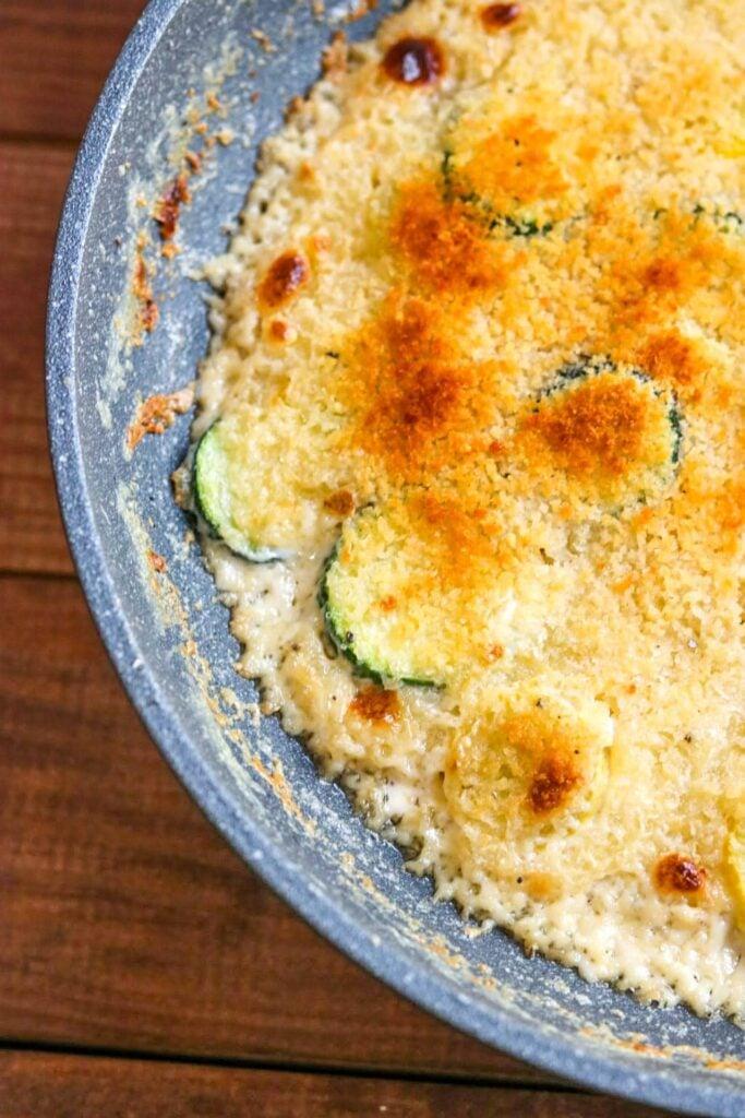 squash casserole in a skillet