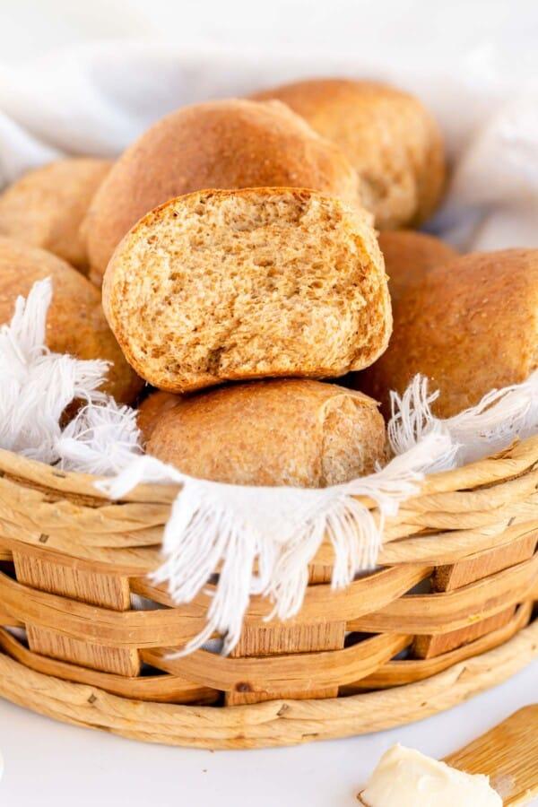 whole wheat rolls in a basket