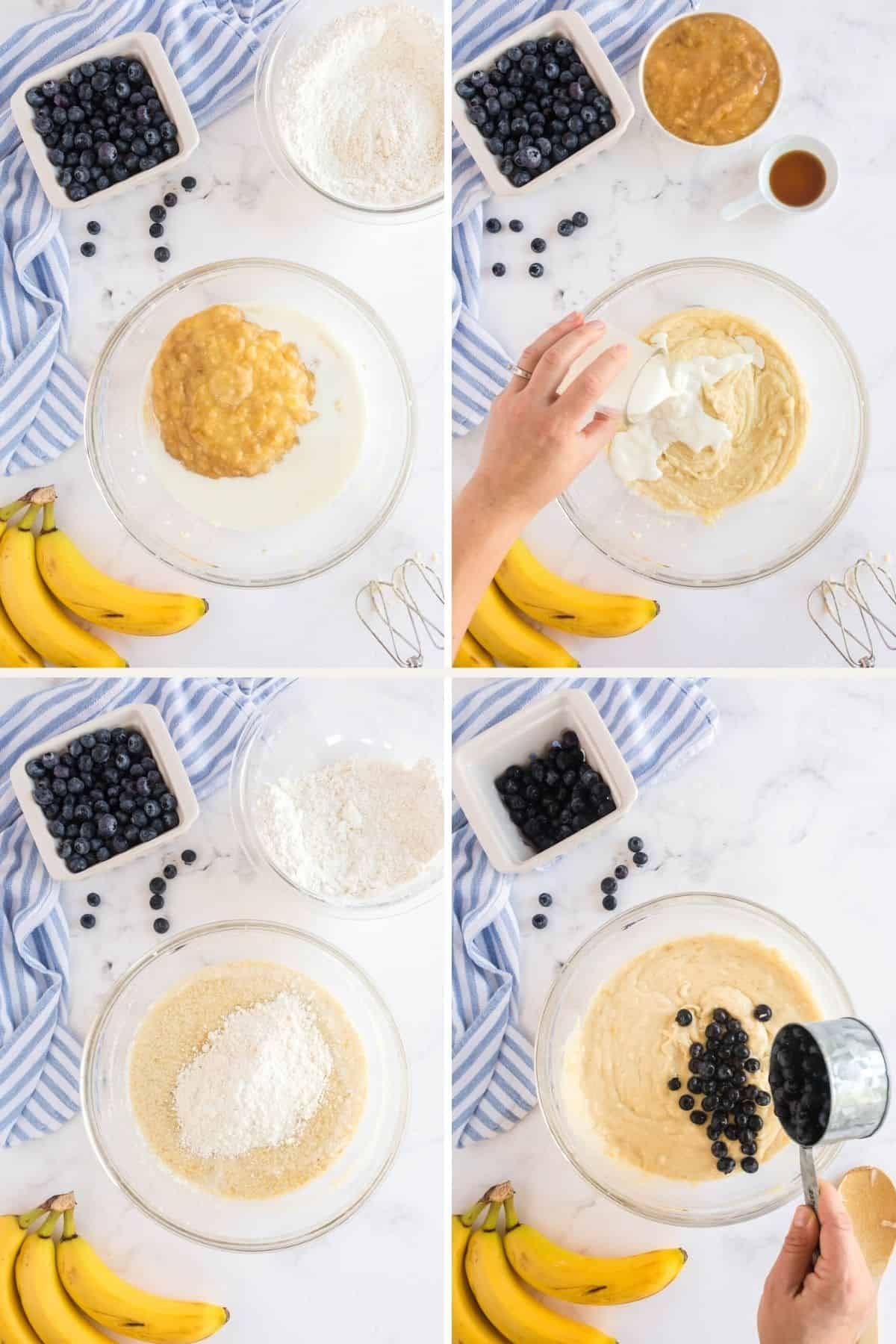 step by step photos showing blueberry bread batter being made