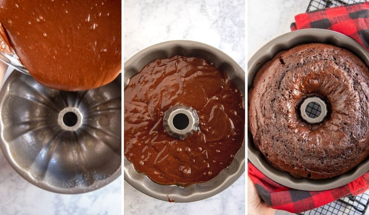 step by step photos showing cake batter being poured into a bundt pan and baked