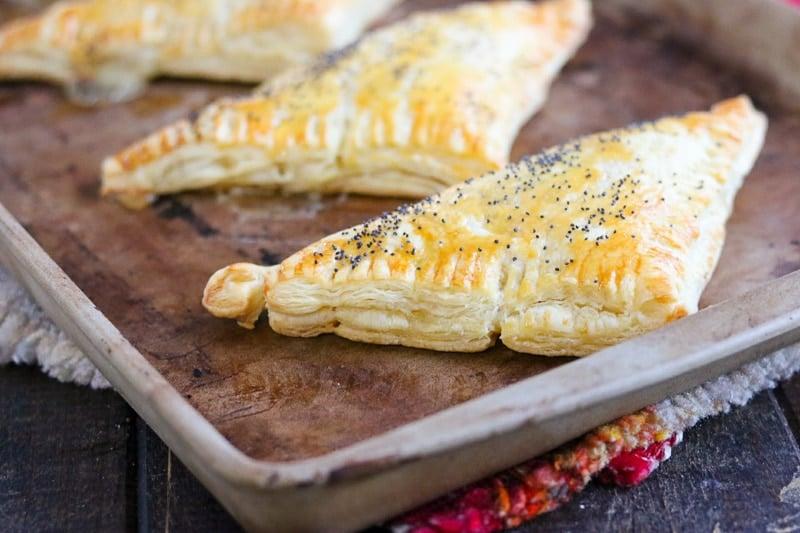Chicken & Rice Turnovers horizontal on baking stone