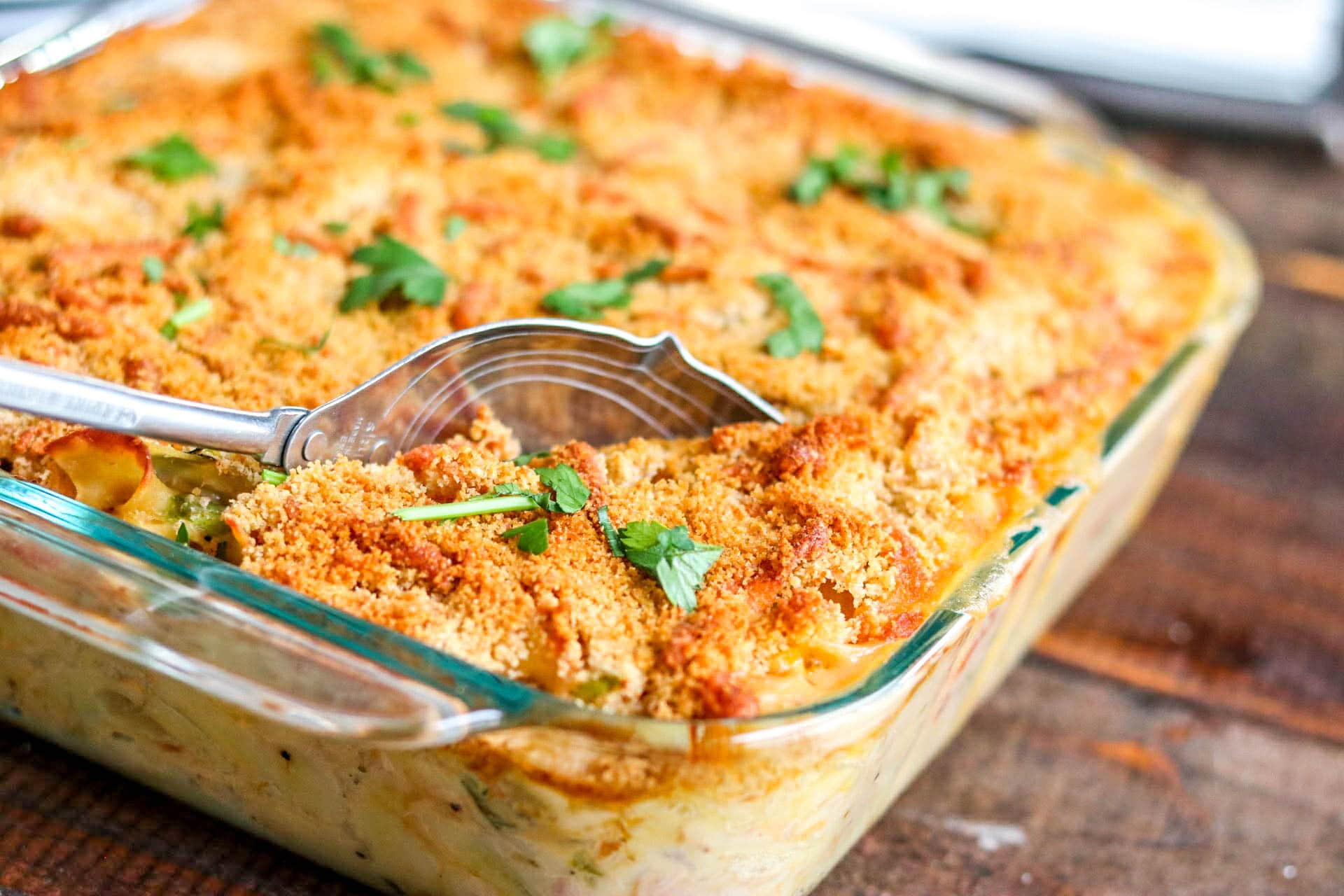 tuna noodle casserole baked with parsley on top