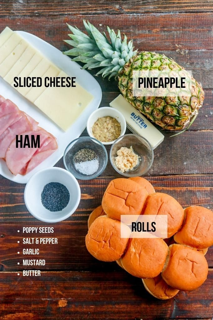 hawaiian sliders ingredients (ham & cheese sliders)