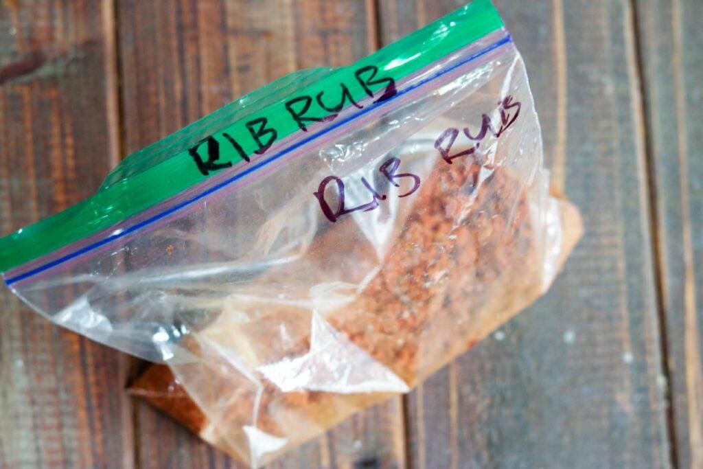 Instant pot ribs horizontal rub ingredients