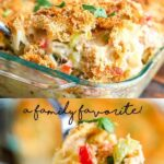 Tuna Noodle Casserole pin with text overlay