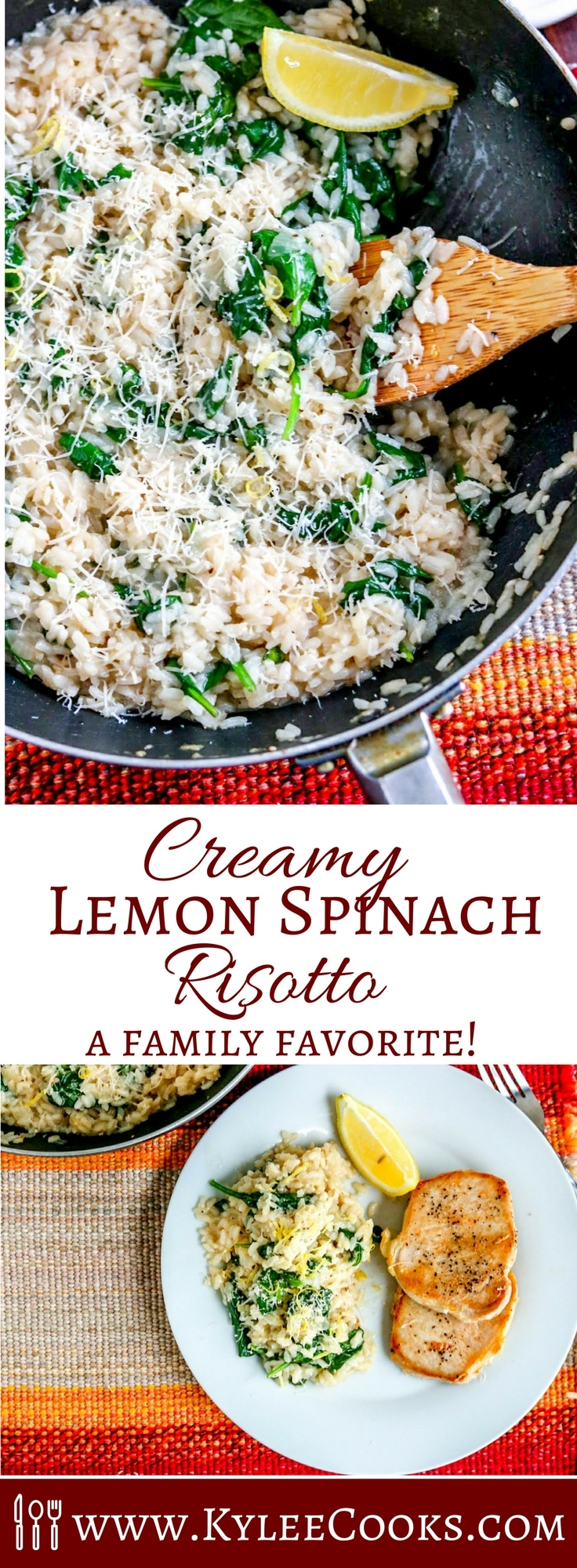 A delicious side, or a main meal – this creamy Lemon Spinach Risotto is packed with flavor and super easy to make. Adults AND kids love it! #risotto #recipe