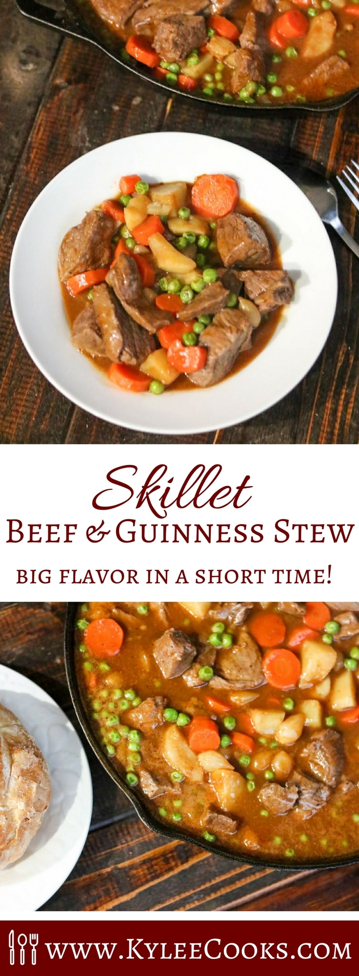 All the delicious flavor of a slow cooked stew, made simpler by using just one skillet. This Beef & Guinness Stew is rich and flavorful and perfect for dinner tonight! #skillet #beef #stew #stpatricksday #recipe