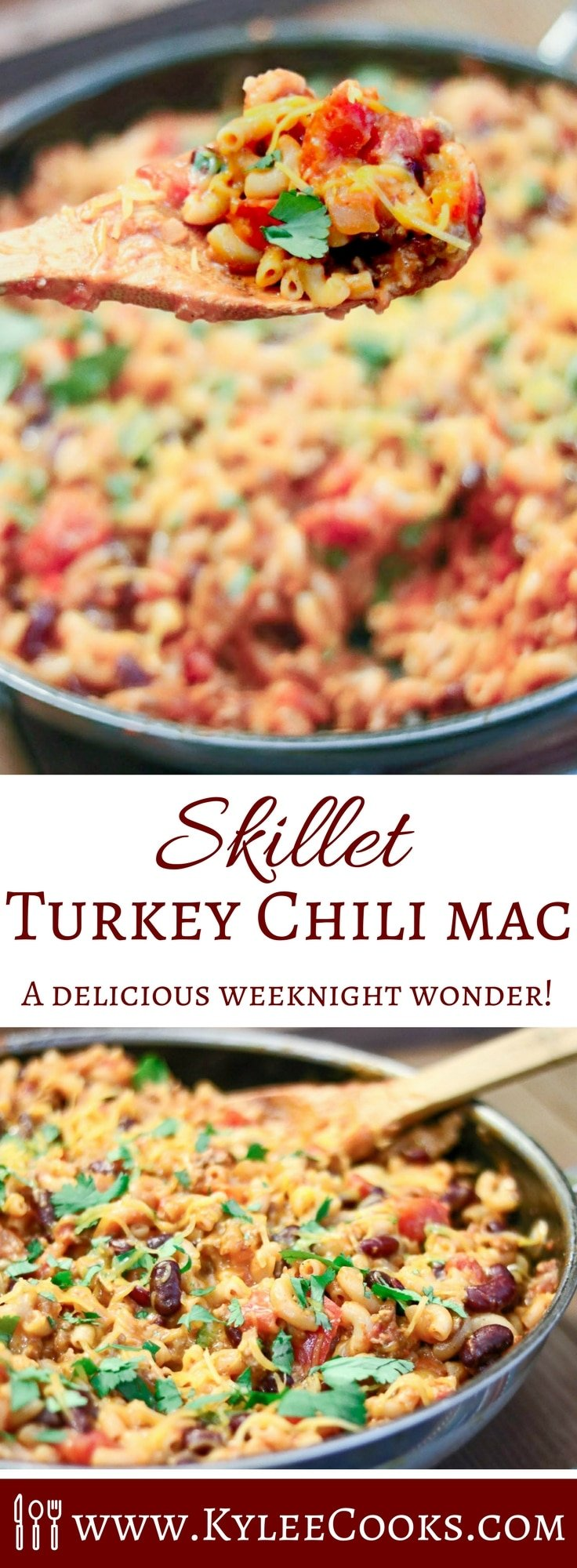 We're bringing childhood back, with this easy Skillet Turkey Chili Mac. Lightened up with turkey vs beef, and packing a protein punch – this one is a family favorite!