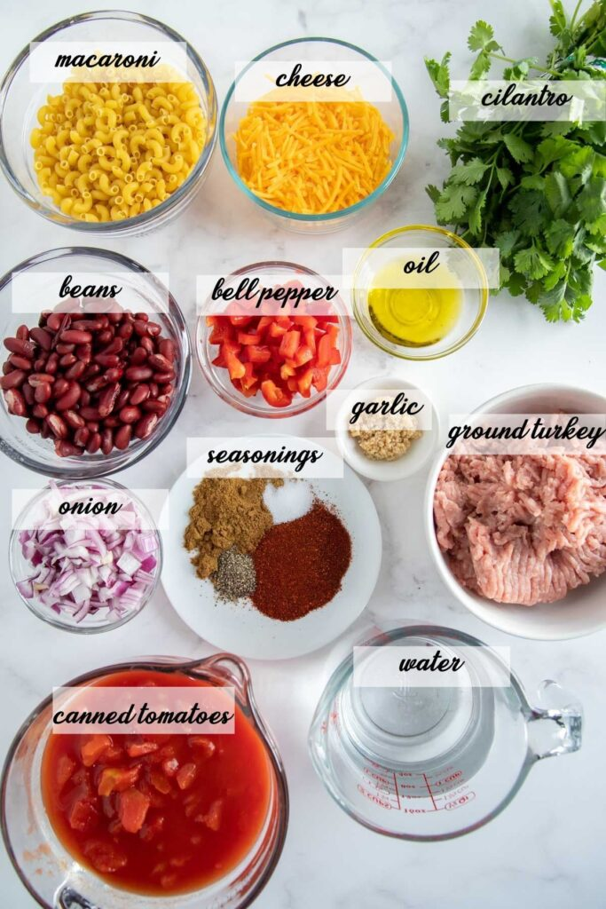 turkey chili mac ingredients laid out and labeled