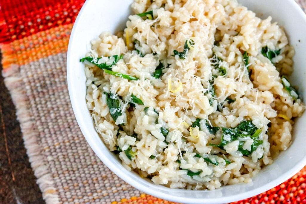 risotto in a white bowl