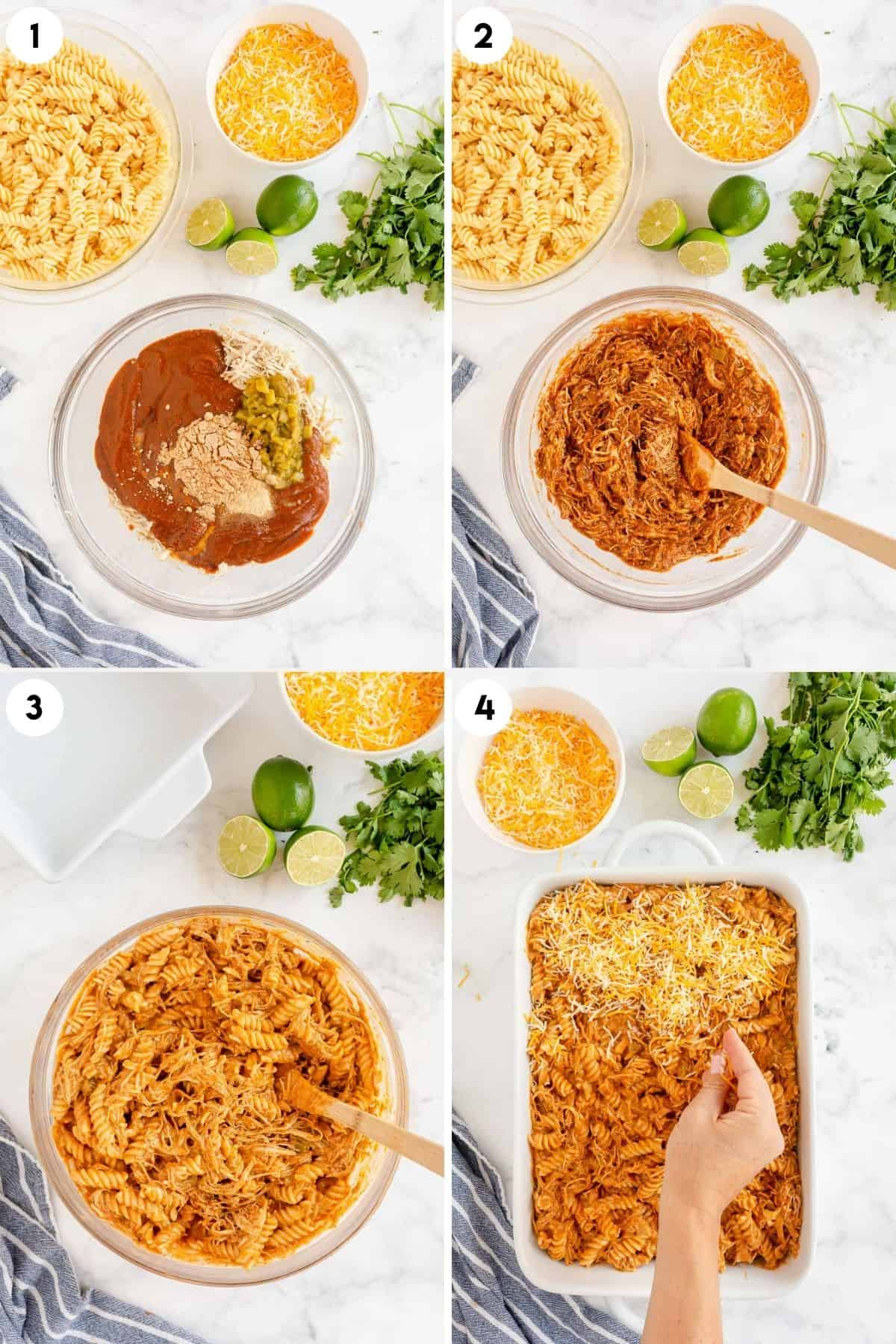 collage of process steps showing how to make enchilada pasta