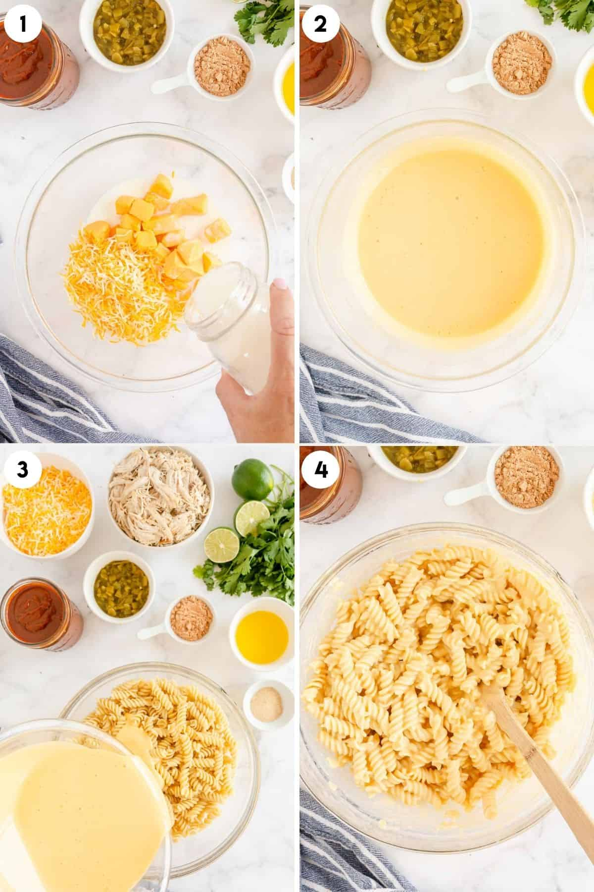 collage of process steps showing melting cheese and adding to pasta