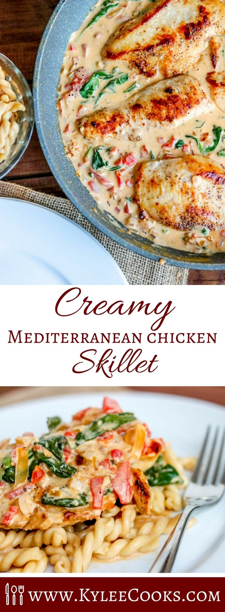 Collage of overhead shot of creamy Mediterranean chicken skillet in pan with white plate on side at top and closeup of creamy chicken with fork on white plat on the bottom.