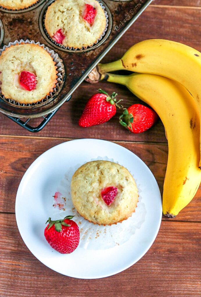 These delicious strawberry banana muffins a packed full of fresh flavors, and last about 5 minutes after coming out of the oven! They'll be devoured FAST!