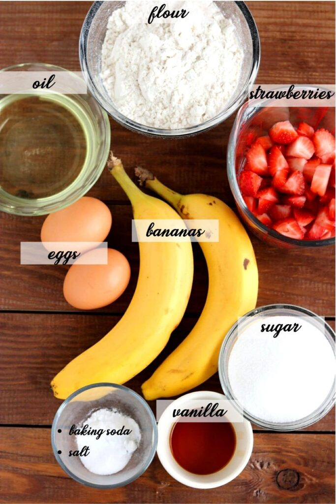 Fresh Strawberry Banana Muffins - ingredients laid out and labeled