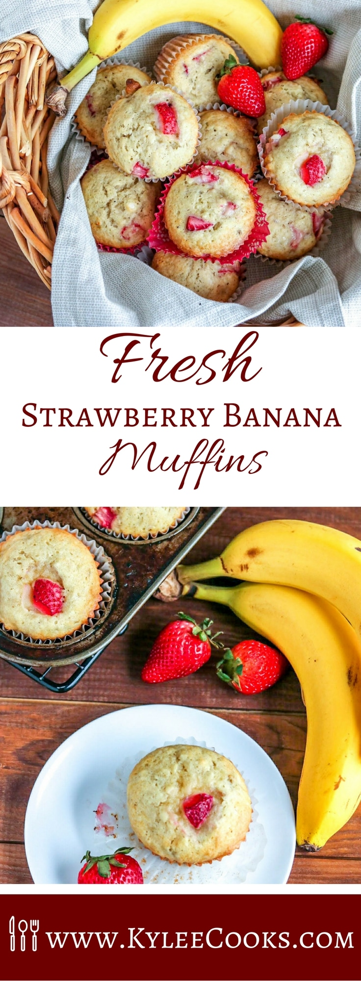 These delicious strawberry banana muffins are packed full of fresh flavors, and last about 5 minutes after coming out of the oven! They'll be devoured FAST! #muffins #strawberry #banana #breakfast