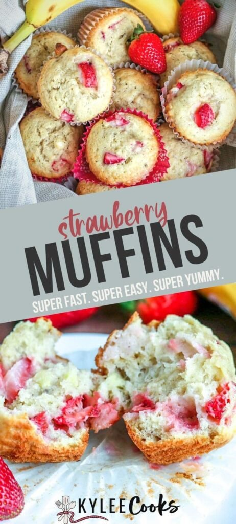 Strawberry Muffins pin with text overlay