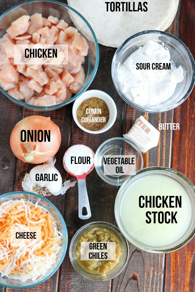 chicken enchilada ingredients with labels