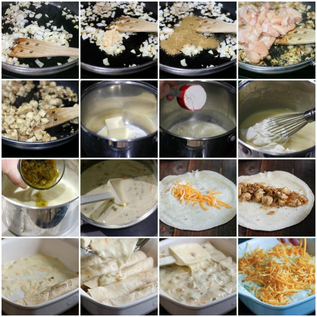 process shots collage showing how to make chicken enchiladas