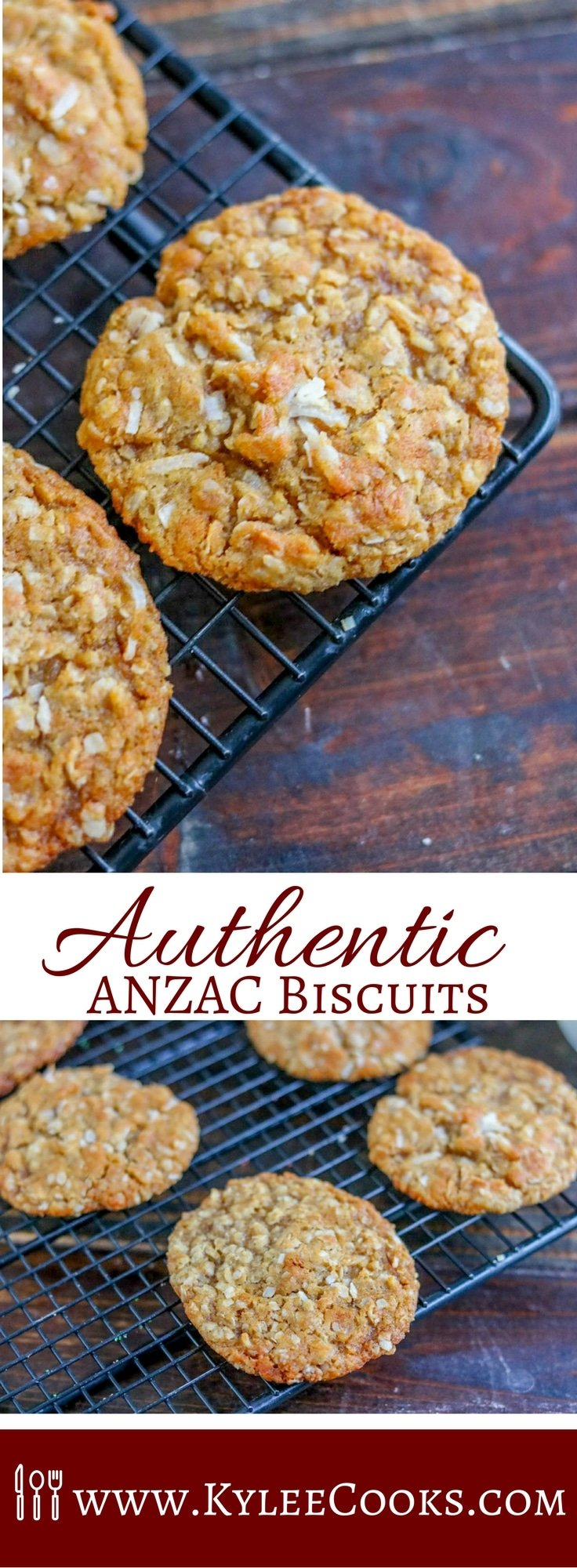 These Authentic ANZAC Biscuits are fabulous! Buttery, chewy, oatmeal coconut biscuits that have a rich history. A delicious treat still popular today!