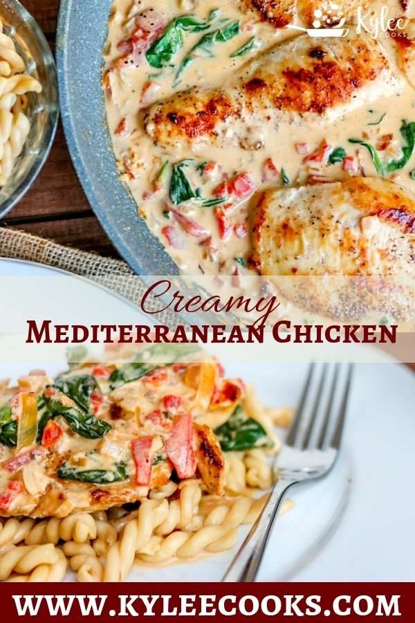 This Creamy Mediterranean Chicken Skillet is so delicious, you won't believe how easy and fast it is to cook. Perfect for weeknights, with flavors everyone will enjoy - you'll be fighting over the leftover sauce! #chicken #dinner