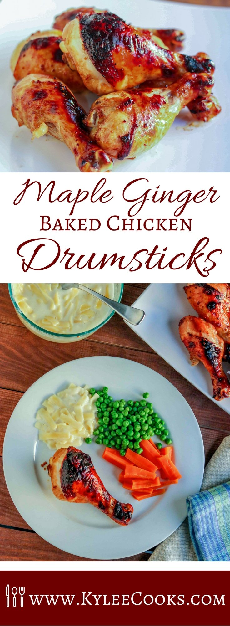 A super easy weeknight dinner, these Maple Ginger Baked Chicken Drumsticks have an amazing flavor with sweet maple and pops of ginger in every bite. Everyone will love it! #maple #ginger #chicken #weeknight #dinner #recipe #kyleecooks